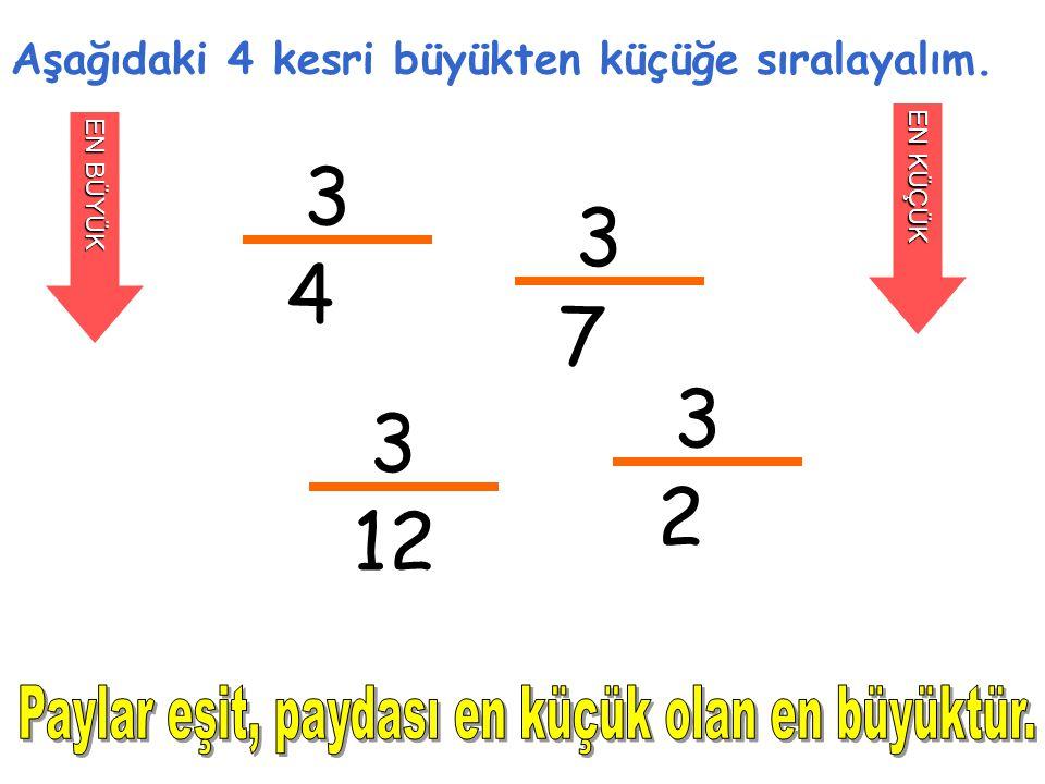 3 3 4 7 3 3 2 12 Paylar eşit, paydası en küçük olan en büyüktür.