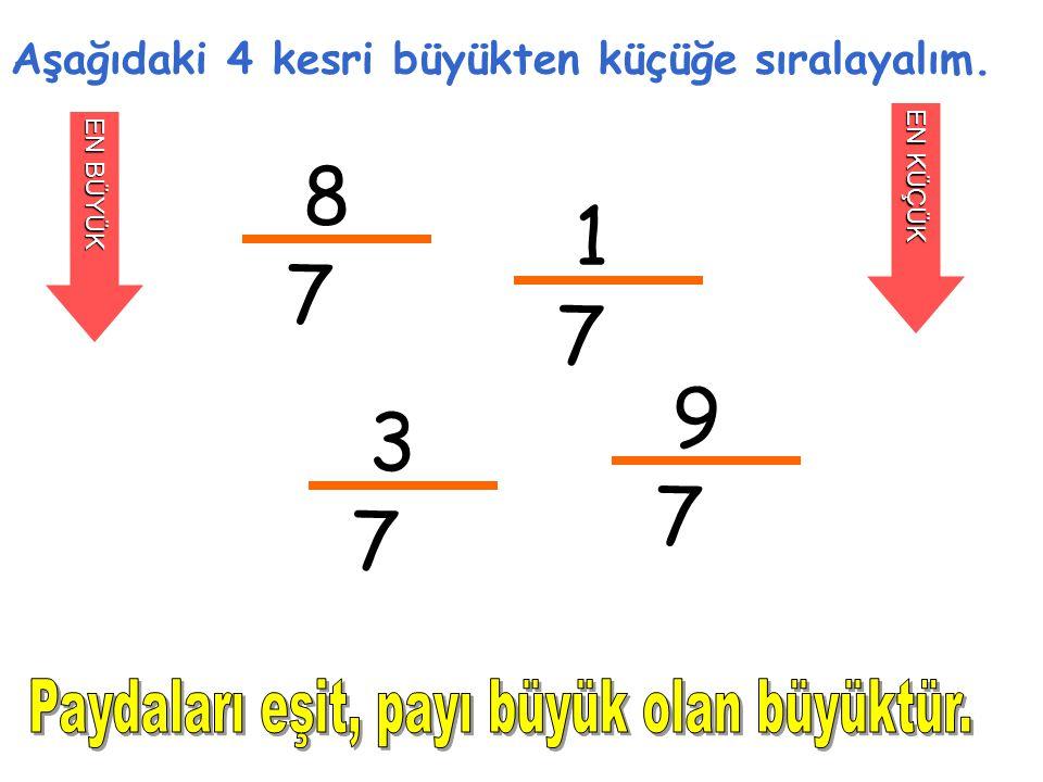 8 1 7 7 9 3 7 7 Paydaları eşit, payı büyük olan büyüktür.