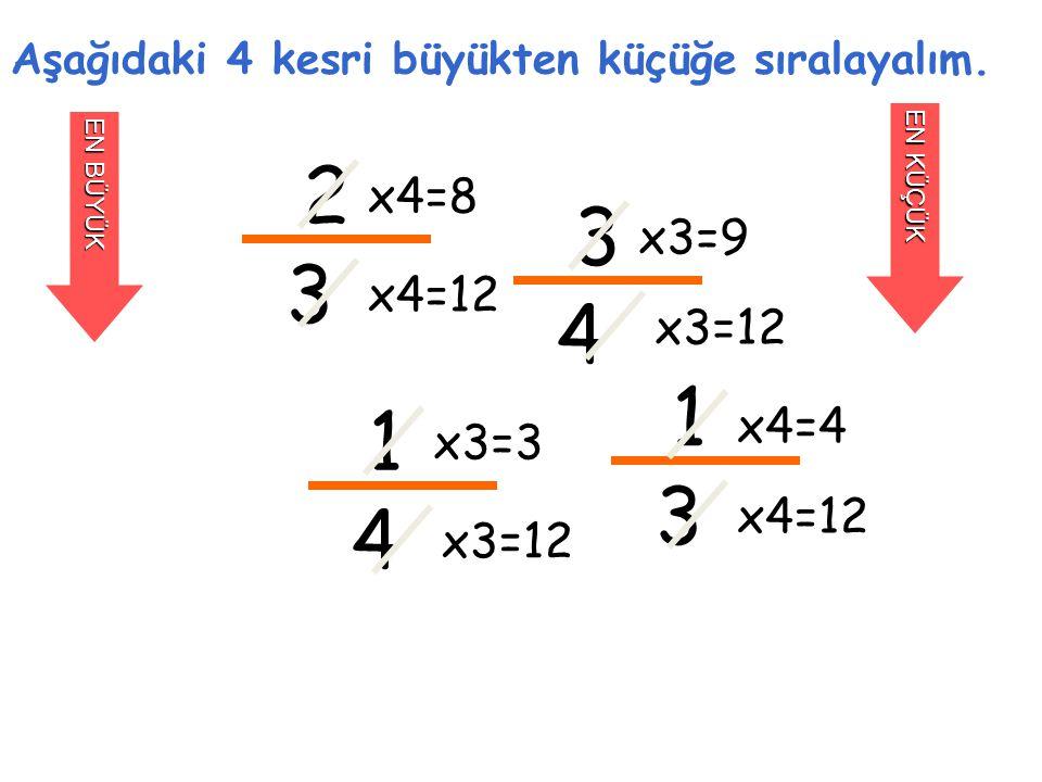 Aşağıdaki 4 kesri büyükten küçüğe sıralayalım.