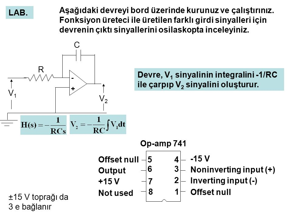 Noninverting input (+) Inverting input (-) Offset null Output +15 V