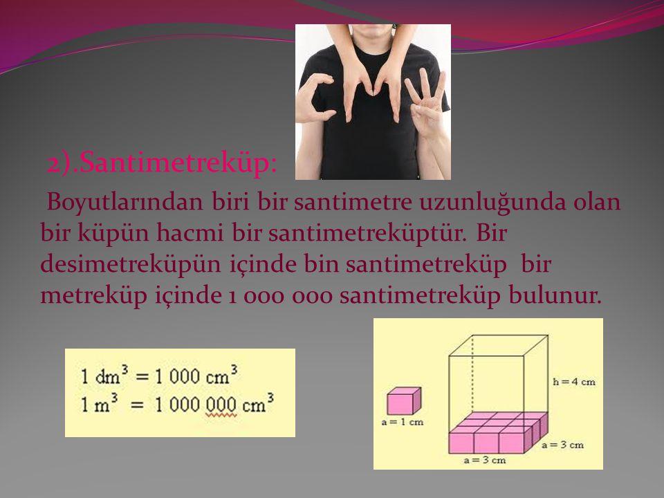 2).Santimetreküp: