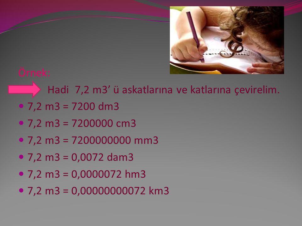 Örnek: Hadi 7,2 m3' ü askatlarına ve katlarına çevirelim. 7,2 m3 = 7200 dm3. 7,2 m3 = 7200000 cm3.