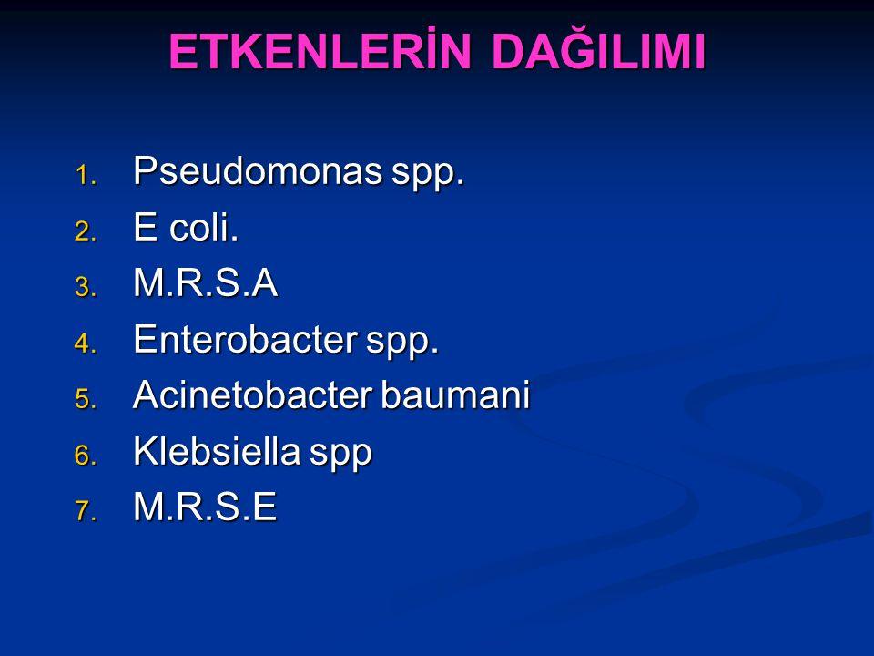 ETKENLERİN DAĞILIMI Pseudomonas spp. E coli. M.R.S.A Enterobacter spp.