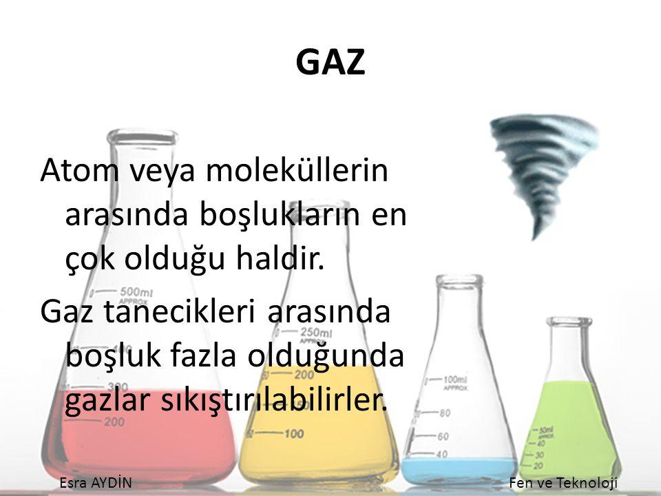 GAZ Atom veya moleküllerin arasında boşlukların en çok olduğu haldir.
