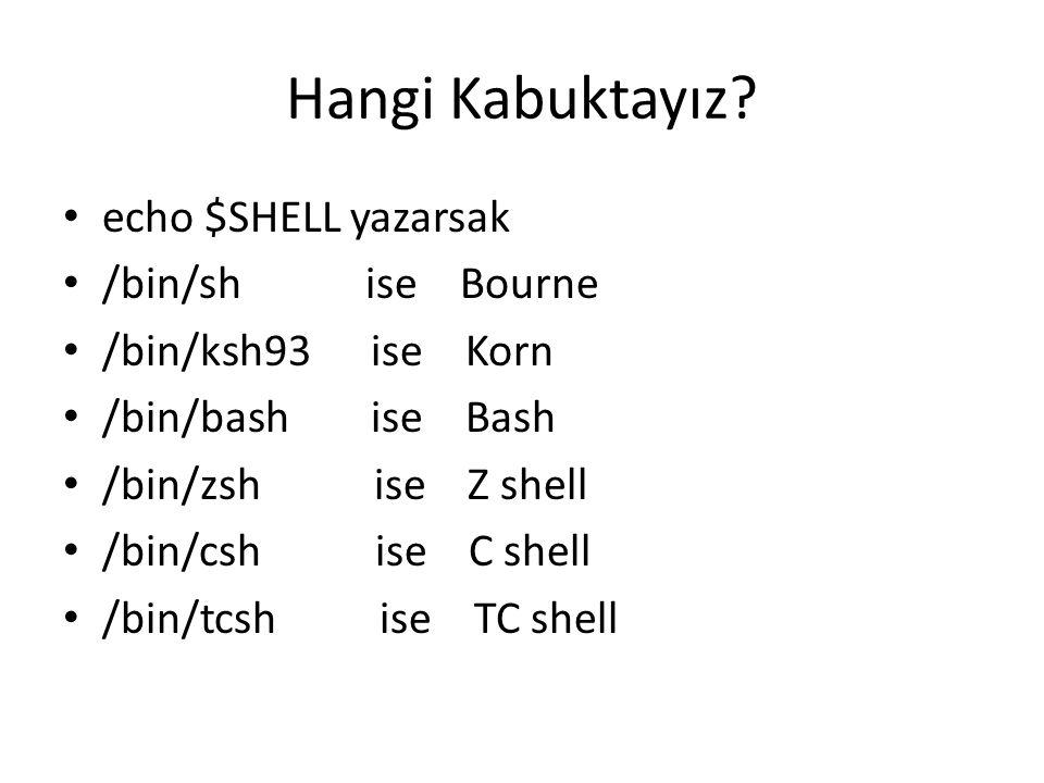 Hangi Kabuktayız echo $SHELL yazarsak /bin/sh ise Bourne