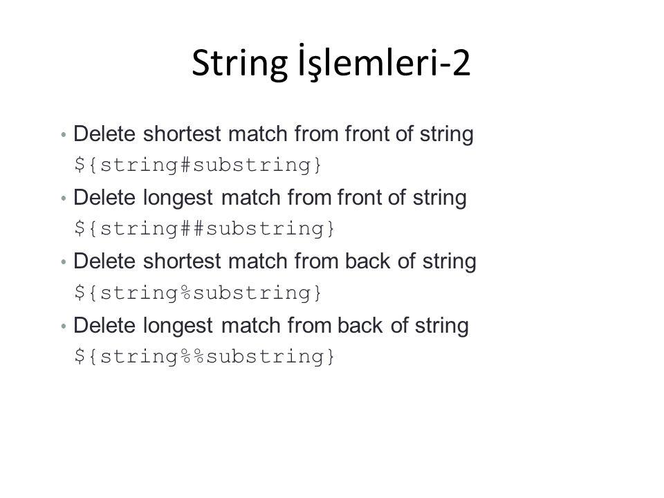String İşlemleri-2 Delete shortest match from front of string