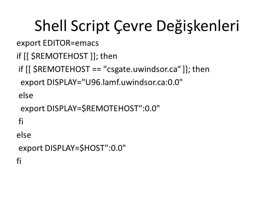 Shell Script Çevre Değişkenleri