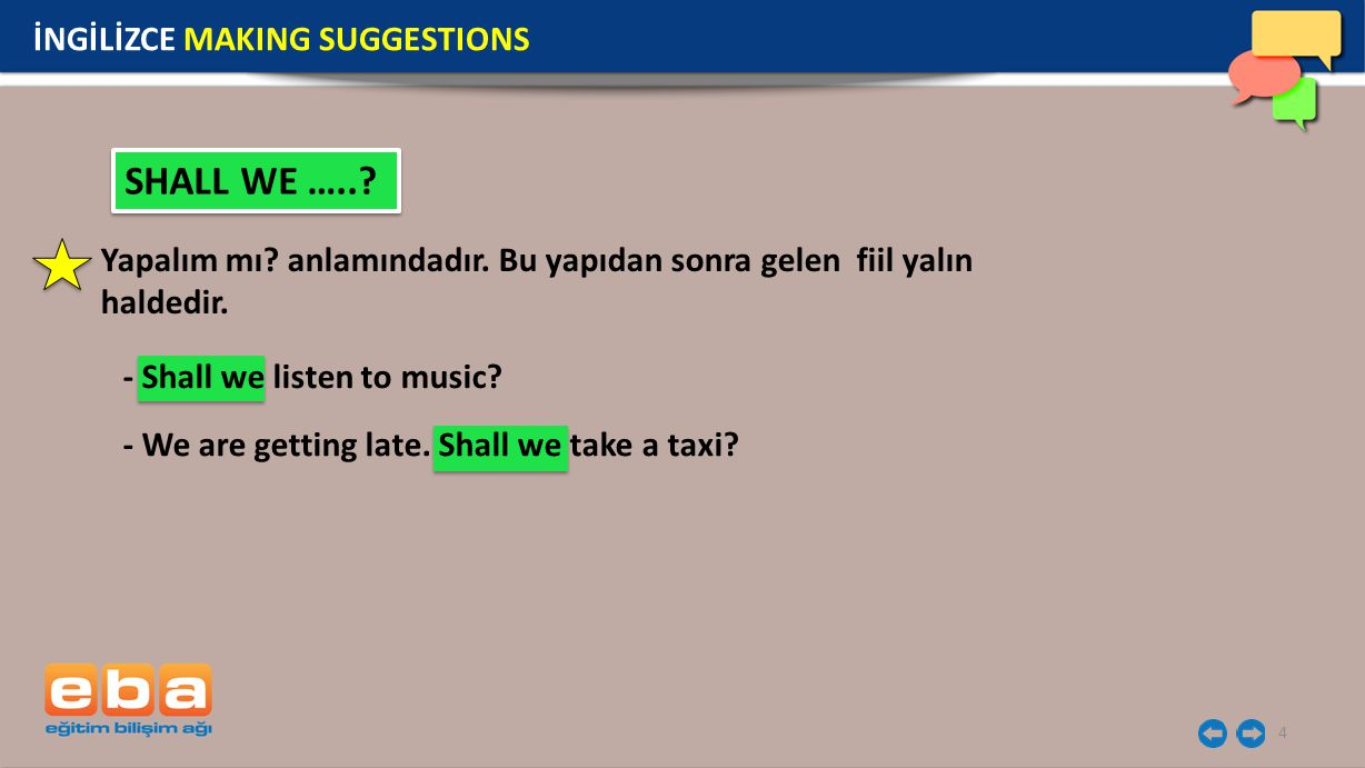SHALL WE ….. İNGİLİZCE MAKING SUGGESTIONS