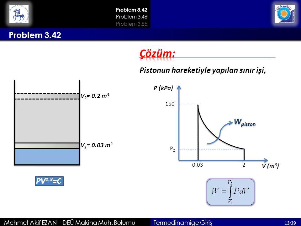 Çözüm: Problem 3.42 Pistonun hareketiyle yapılan sınır işi, Wpiston