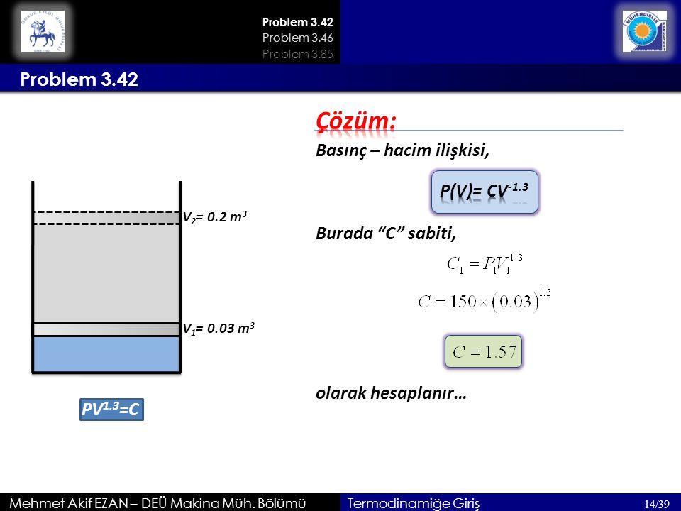 Çözüm: Problem 3.42 Basınç – hacim ilişkisi, P(V)= CV-1.3