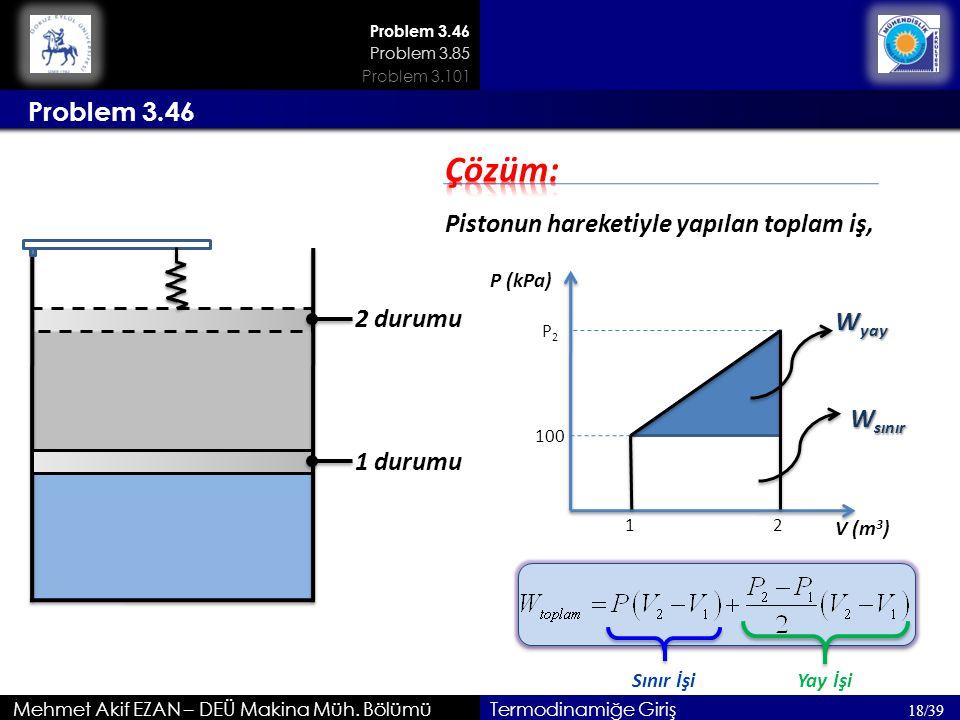 Çözüm: Problem 3.46 Pistonun hareketiyle yapılan toplam iş, 2 durumu