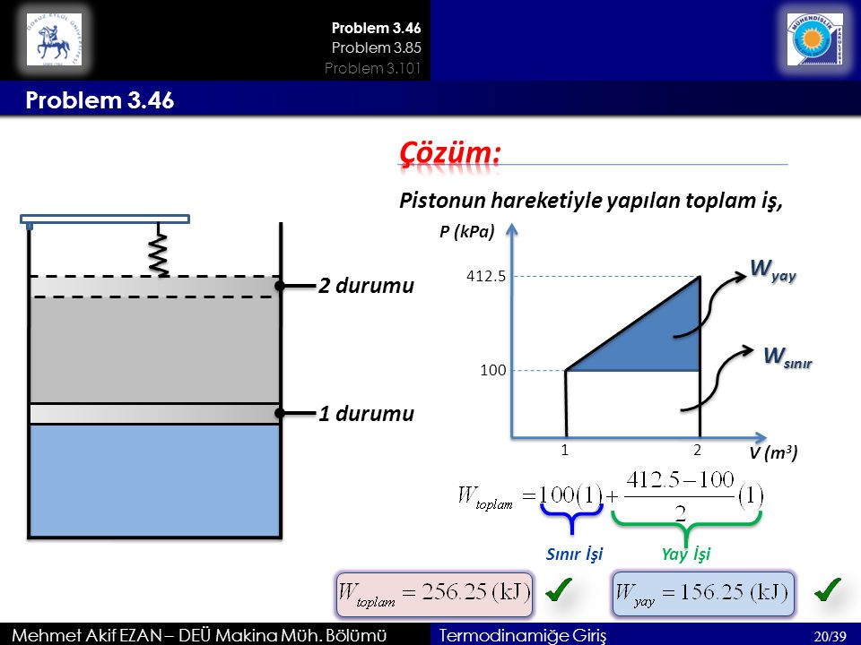 Çözüm: Problem 3.46 Pistonun hareketiyle yapılan toplam iş, Wyay
