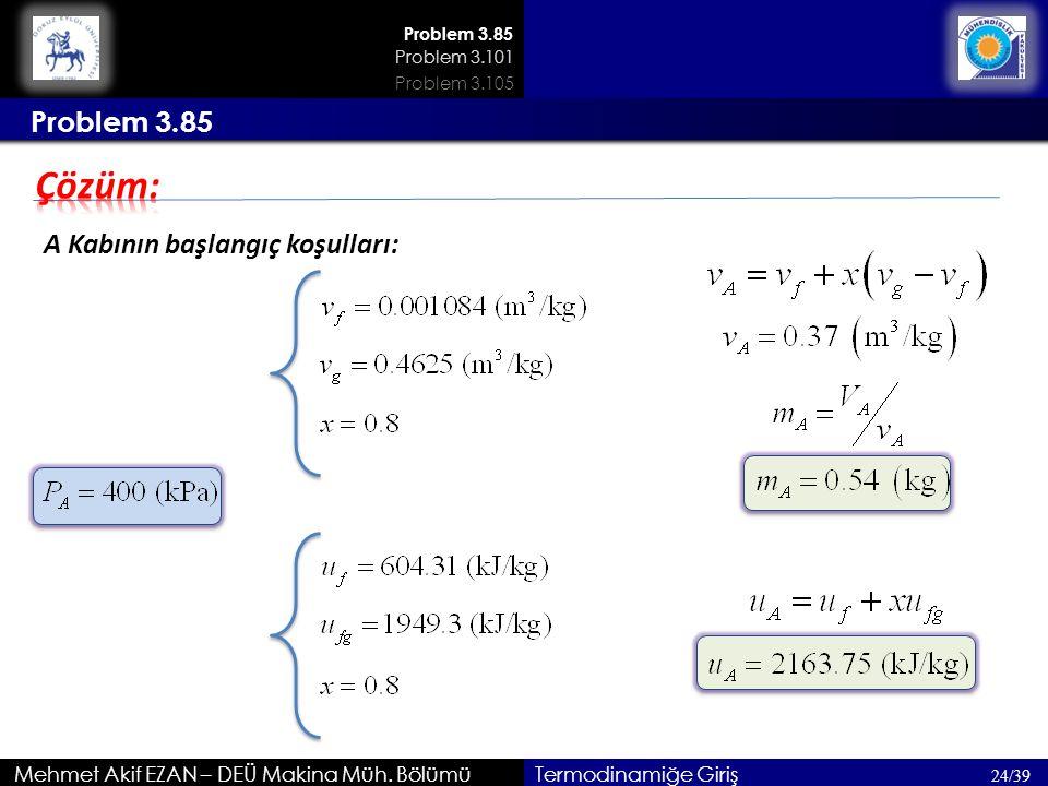 Çözüm: Problem 3.85 A Kabının başlangıç koşulları: 200kPa