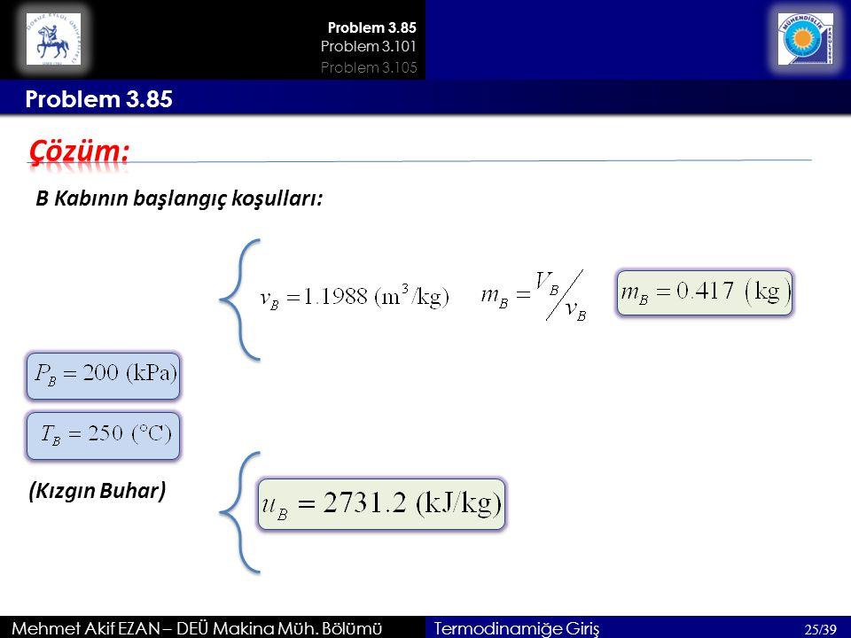 Çözüm: Problem 3.85 B Kabının başlangıç koşulları: (Kızgın Buhar)
