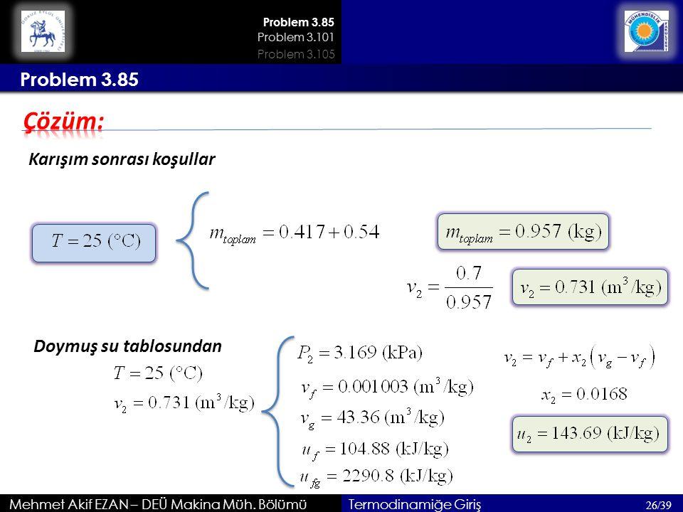 Çözüm: Problem 3.85 Karışım sonrası koşullar Doymuş su tablosundan