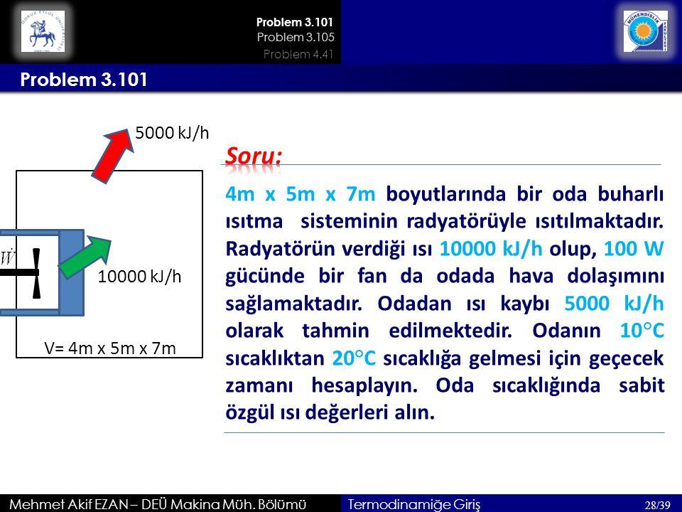 Problem 3.101 Problem 3.105. Problem 4.41. Problem 3.101. 5000 kJ/h. Soru: