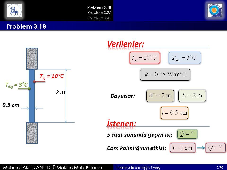 Verilenler: İstenen: Problem 3.18 Tiç = 10°C Tdış = 3°C 2 m Boyutlar: