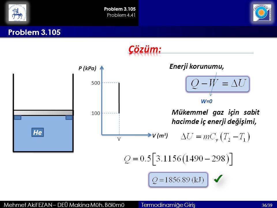 Çözüm: Problem 3.105 Enerji korunumu,