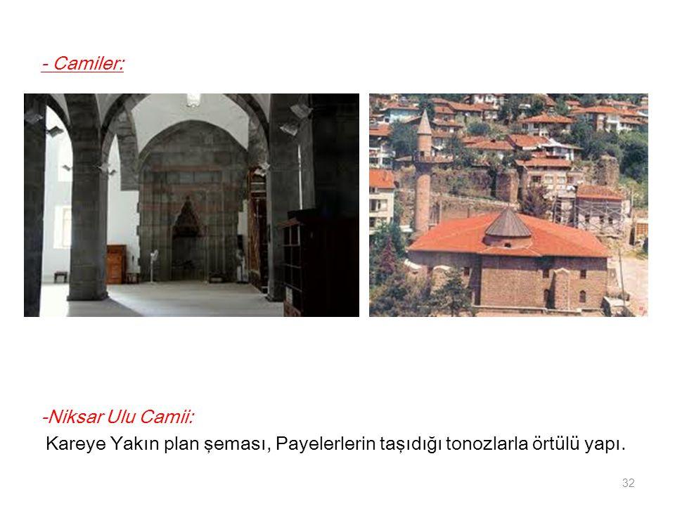 - Camiler: -Niksar Ulu Camii: Kareye Yakın plan şeması, Payelerlerin taşıdığı tonozlarla örtülü yapı.
