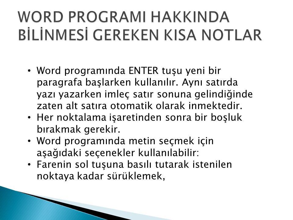 WORD PROGRAMI HAKKINDA BİLİNMESİ GEREKEN KISA NOTLAR