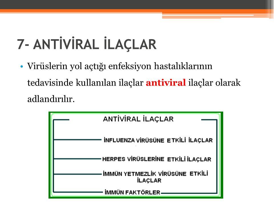7- ANTİVİRAL İLAÇLAR Virüslerin yol açtığı enfeksiyon hastalıklarının tedavisinde kullanılan ilaçlar antiviral ilaçlar olarak adlandırılır.