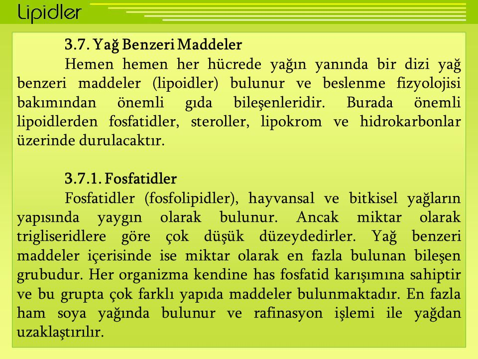 3.7. Yağ Benzeri Maddeler