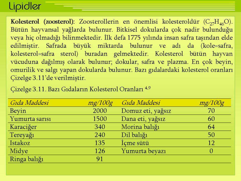 Kolesterol (zoosterol): Zoosterollerin en önemlisi kolesteroldür (C27H46O). Bütün hayvansal yağlarda bulunur. Bitkisel dokularda çok nadir bulunduğu veya hiç olmadığı bilinmektedir. İlk defa 1775 yılında insan safra taşından elde edilmiştir. Safrada büyük miktarda bulunur ve adı da (kole=safra, kolesterol=safra sterol) buradan gelmektedir. Kolesterol bütün hayvan vücuduna dağılmış olarak bulunur; dokular, safra ve plazma. En çok beyin, omurilik ve salgı yapan dokularda bulunur. Bazı gıdalardaki kolesterol oranları Çizelge 3.11'de verilmiştir.