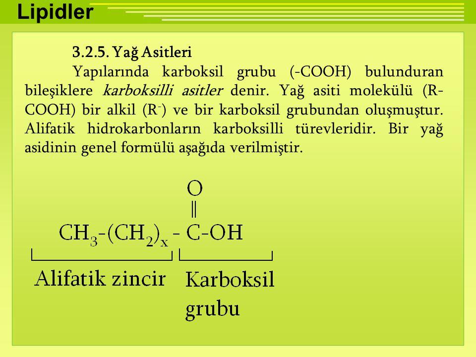 Lipidler 3.2.5. Yağ Asitleri.