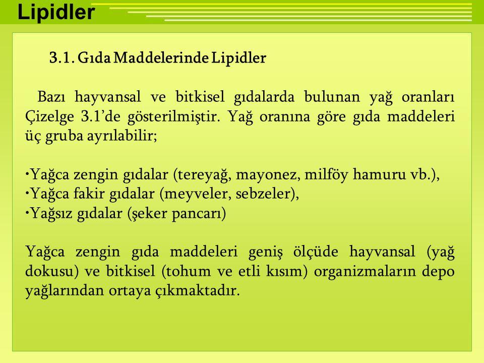 Lipidler 3.1. Gıda Maddelerinde Lipidler