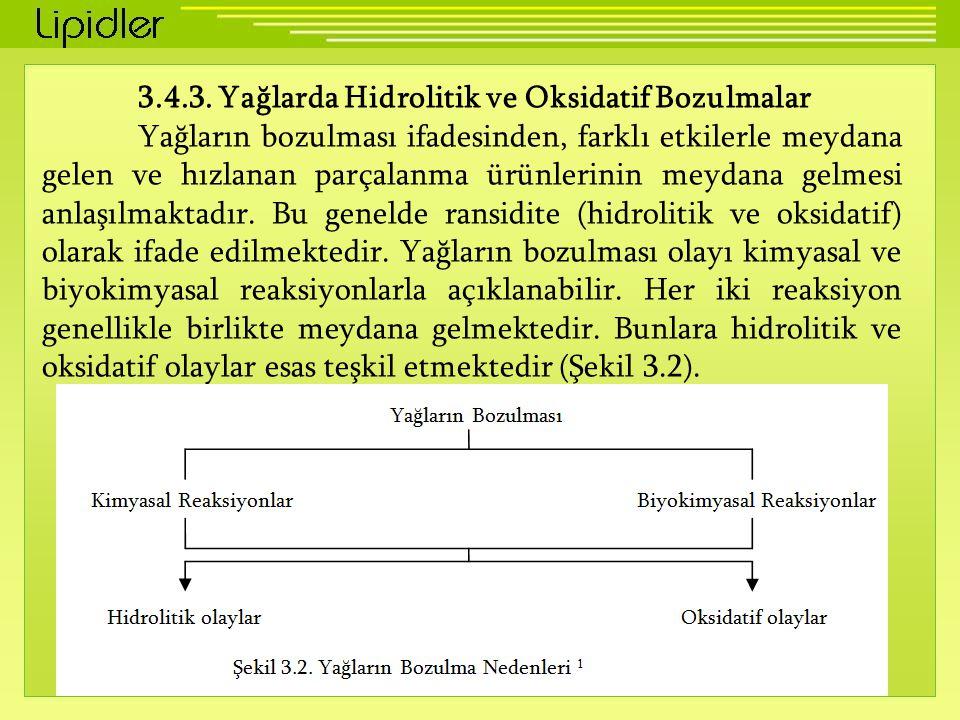 3.4.3. Yağlarda Hidrolitik ve Oksidatif Bozulmalar