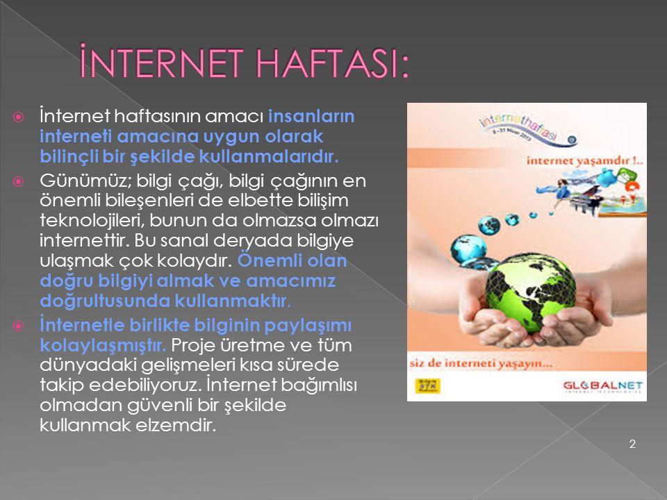 İNTERNET HAFTASI: İnternet haftasının amacı insanların interneti amacına uygun olarak bilinçli bir şekilde kullanmalarıdır.