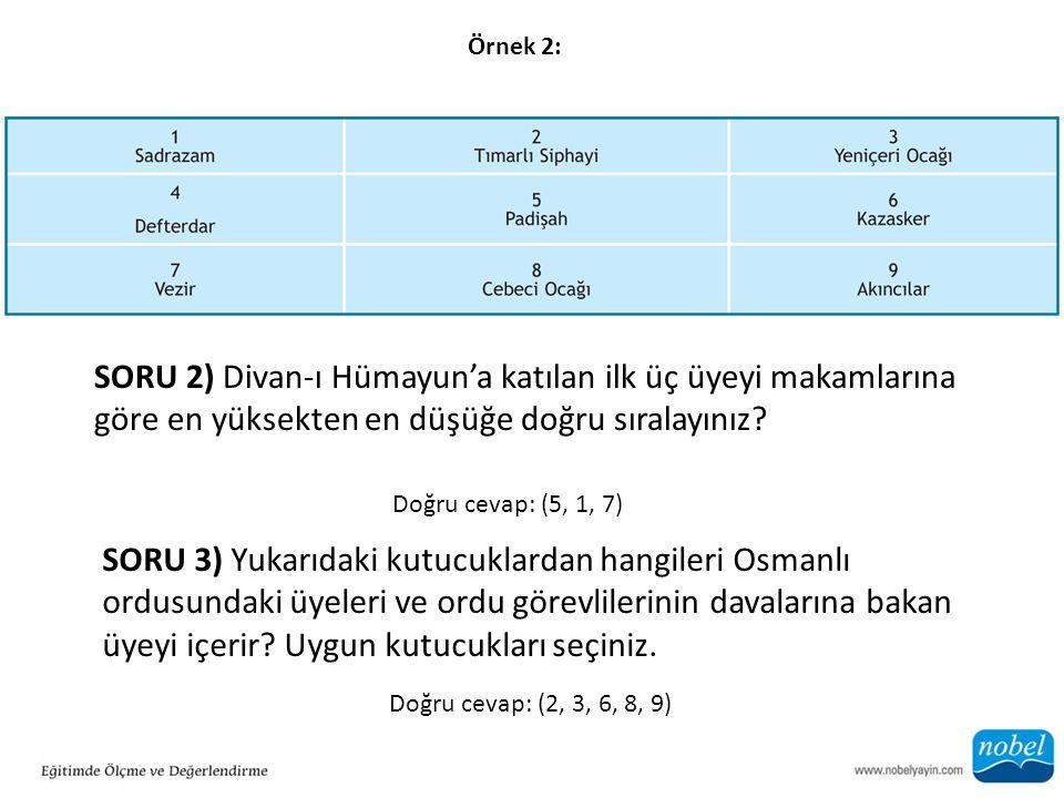 Örnek 2: SORU 2) Divan-ı Hümayun'a katılan ilk üç üyeyi makamlarına göre en yüksekten en düşüğe doğru sıralayınız