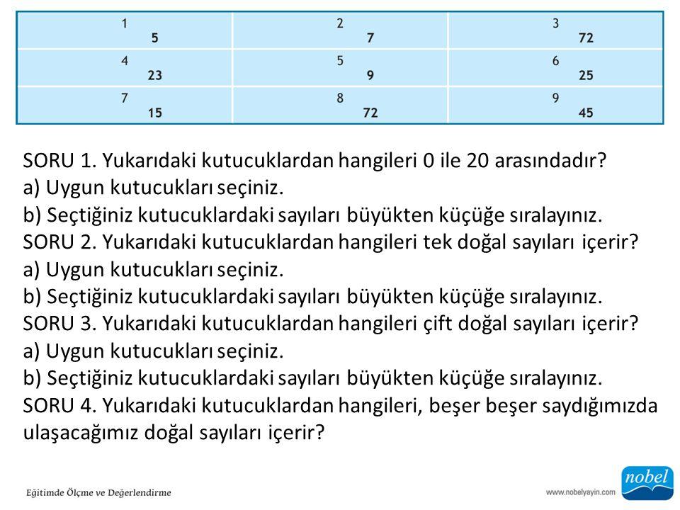 SORU 1. Yukarıdaki kutucuklardan hangileri 0 ile 20 arasındadır