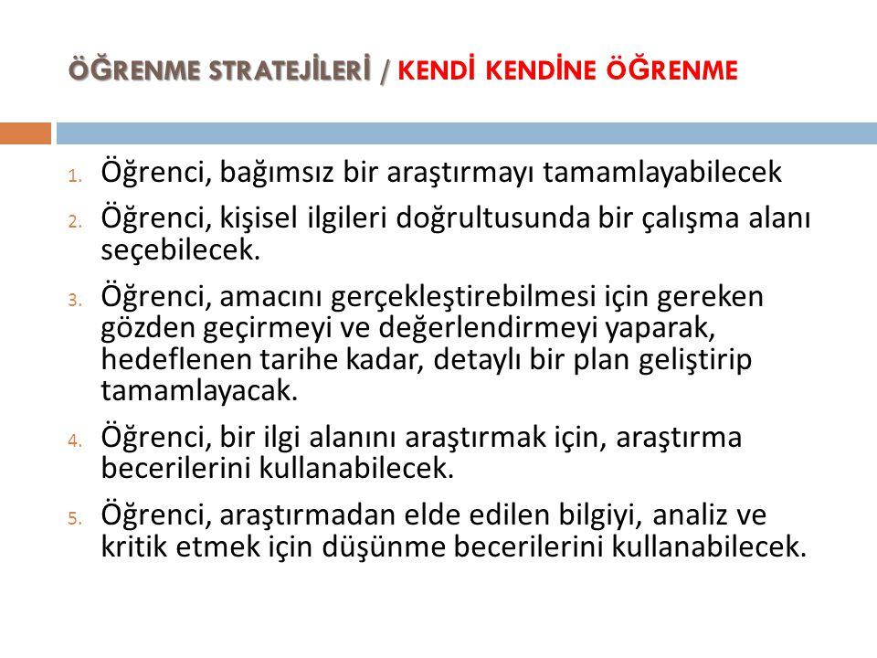 ÖĞRENME STRATEJİLERİ / KENDİ KENDİNE ÖĞRENME