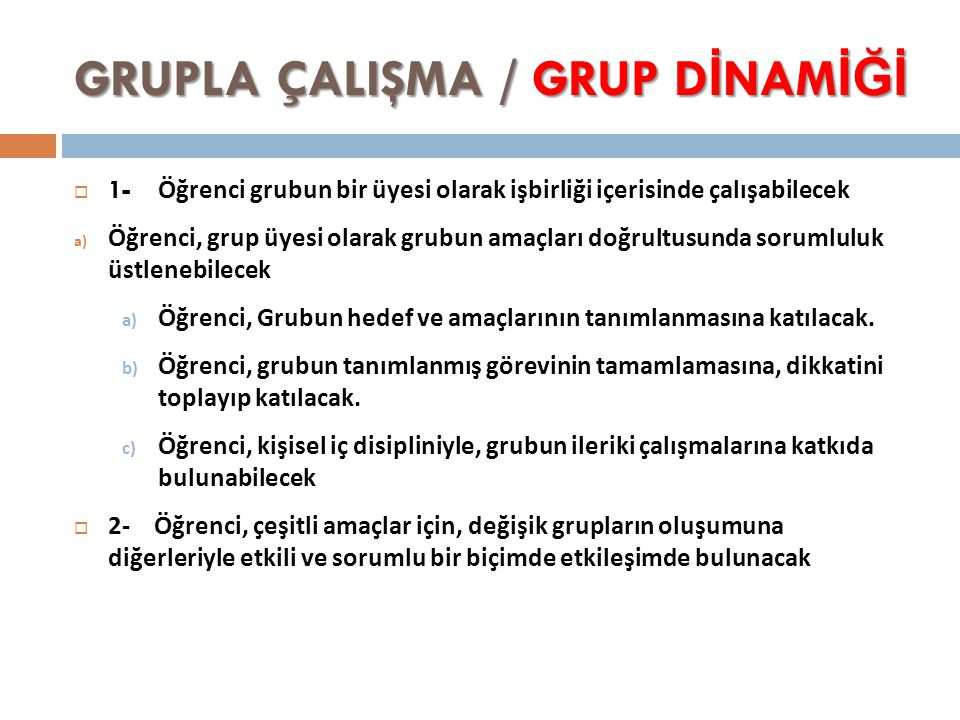 GRUPLA ÇALIŞMA / GRUP DİNAMİĞİ