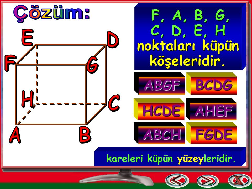 F, A, B, G, C, D, E, H noktaları küpün köşeleridir.