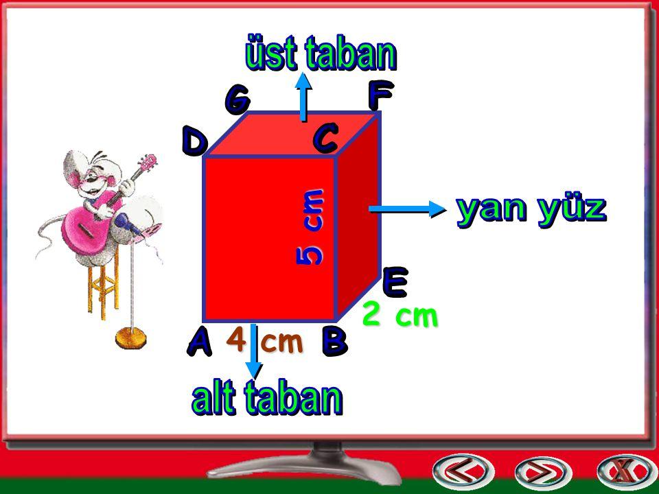 üst taban F G D C yan yüz 5 cm E 2 cm A 4 cm B alt taban