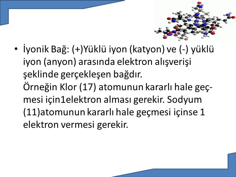 İyonik Bağ: (+)Yüklü iyon (katyon) ve (-) yüklü iyon (anyon) arasında elektron alışverişi şeklinde gerçekleşen bağdır.