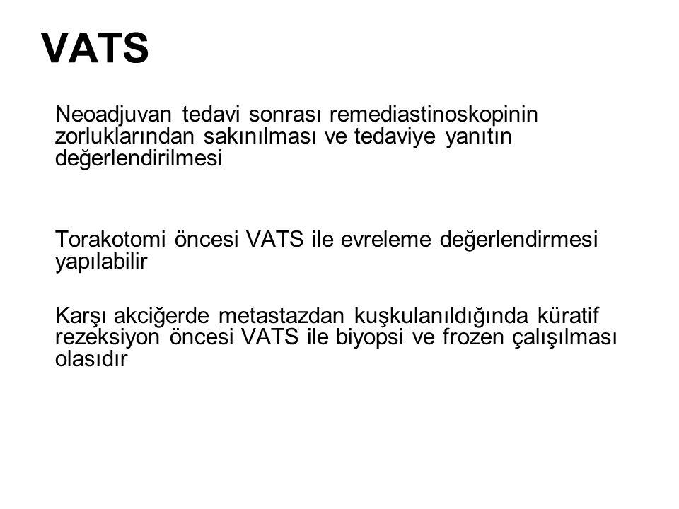 VATS Neoadjuvan tedavi sonrası remediastinoskopinin zorluklarından sakınılması ve tedaviye yanıtın değerlendirilmesi.