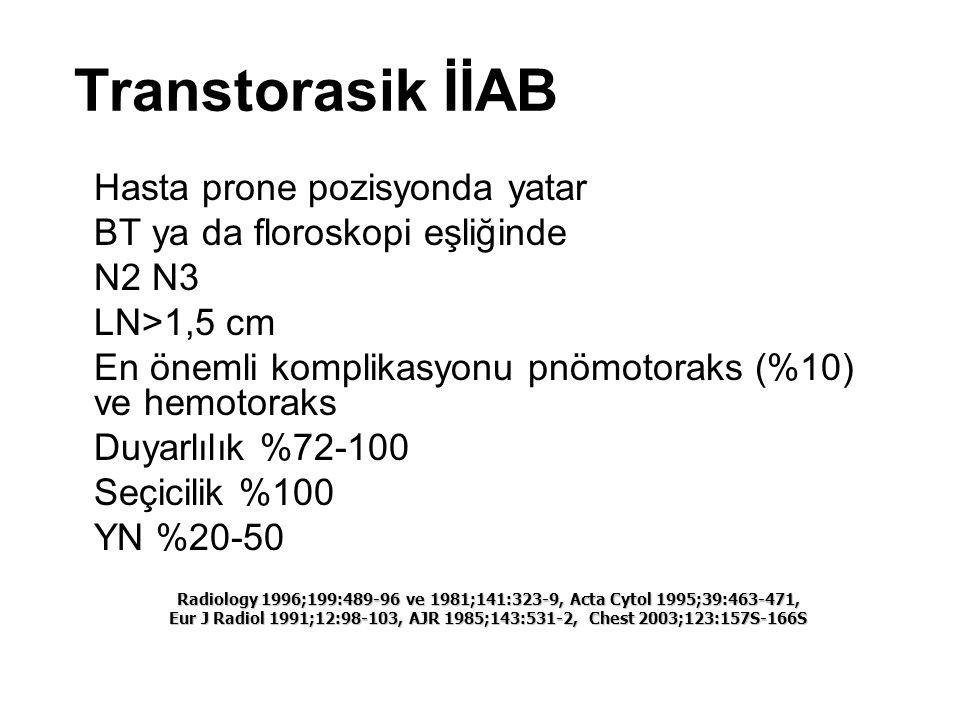 Transtorasik İİAB Hasta prone pozisyonda yatar