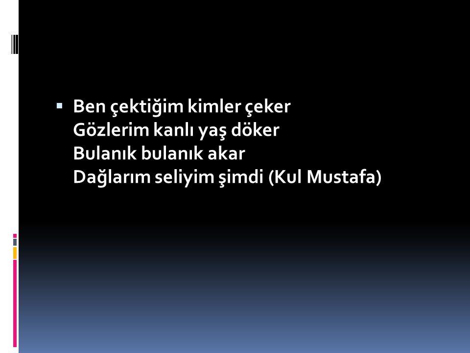Ben çektiğim kimler çeker Gözlerim kanlı yaş döker Bulanık bulanık akar Dağlarım seliyim şimdi (Kul Mustafa)