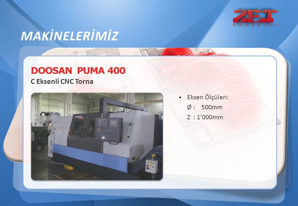 MAKİNELERİMİZ DOOSAN PUMA 400 C Eksenli CNC Torna Eksen Ölçüleri:
