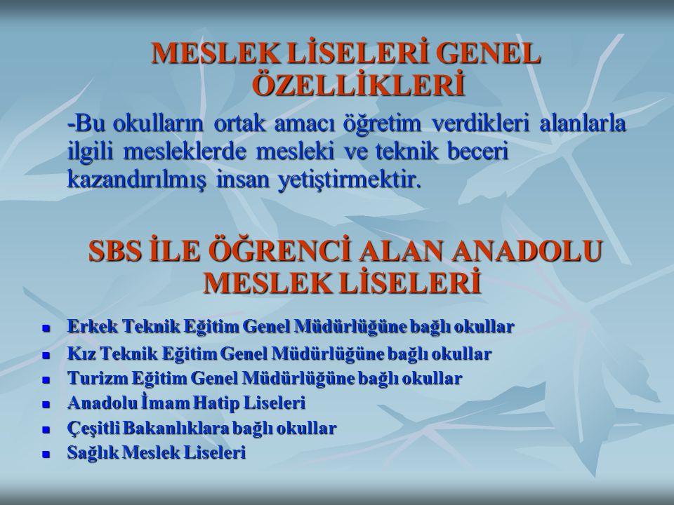 MESLEK LİSELERİ GENEL ÖZELLİKLERİ