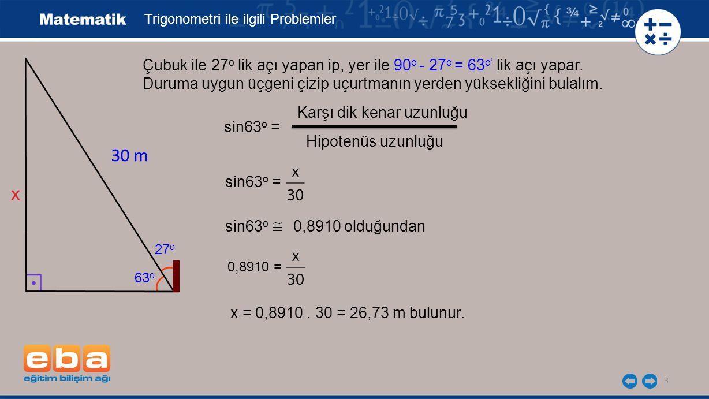 Trigonometri ile ilgili Problemler