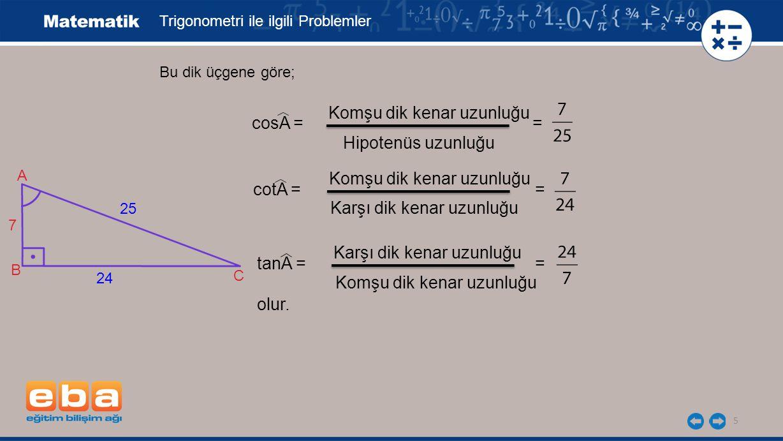Komşu dik kenar uzunluğu cosA = = Hipotenüs uzunluğu