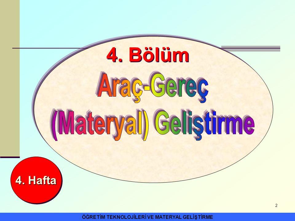 (Materyal) Geliştirme ÖĞRETİM TEKNOLOJİLERİ VE MATERYAL GELİŞTİRME