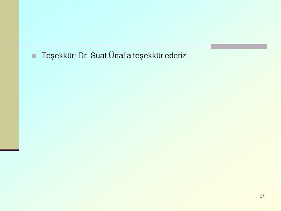 Teşekkür: Dr. Suat Ünal'a teşekkür ederiz.