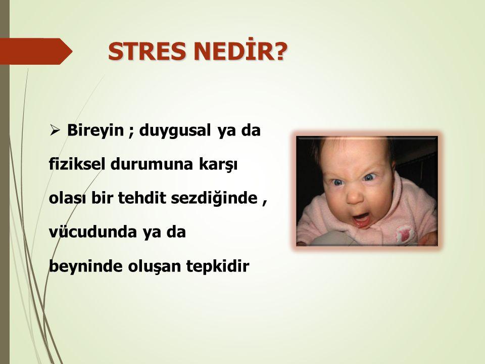 STRES NEDİR Bireyin ; duygusal ya da fiziksel durumuna karşı