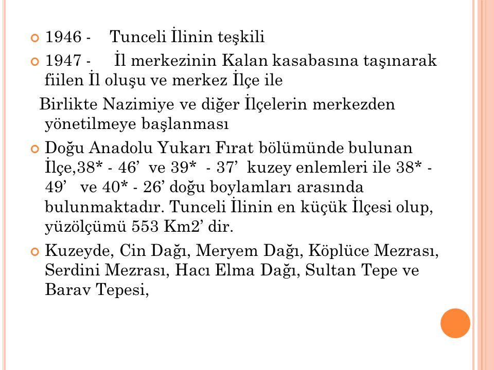 1946 - Tunceli İlinin teşkili