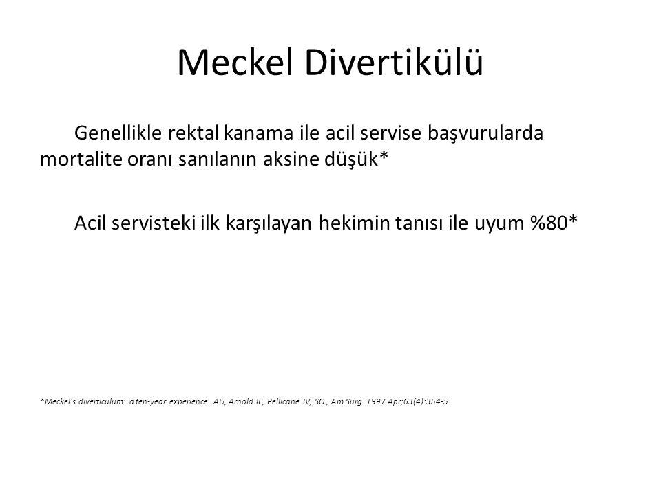 Meckel Divertikülü Genellikle rektal kanama ile acil servise başvurularda mortalite oranı sanılanın aksine düşük*